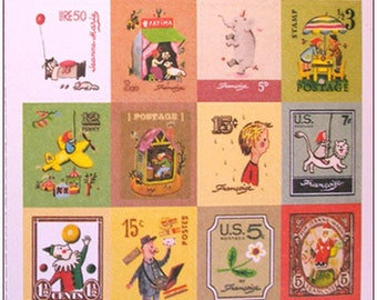 """Stamp sticker stickers for scrapbooking retro vintage """"model 4"""" 1 embroidery sheet of 20 stamps"""
