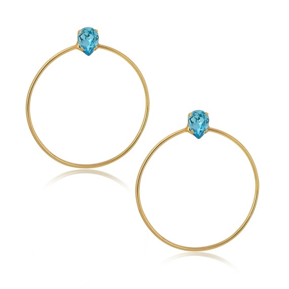 Stone Side Hoops in Turquoise