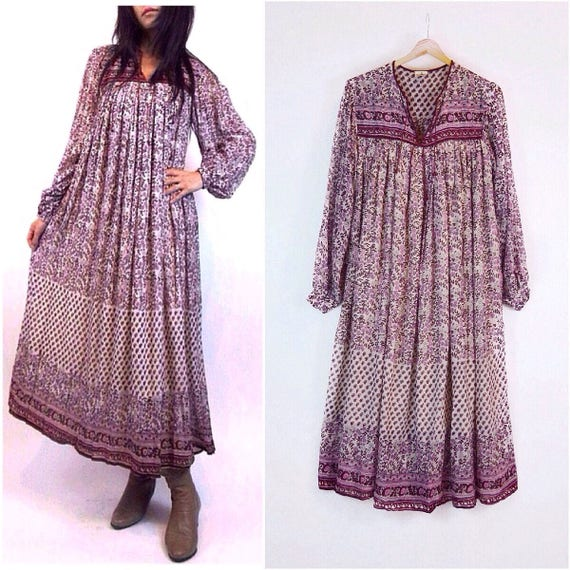 Vintage 70s Indian Gauze Dress | Ruby Pink Floral Indian dress 1970s Deadstock India cotton dress Boho dress Hippie dress Gypsy tent dress