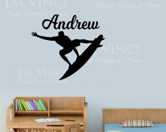 Surfer Surf Surfing Room Personalized Custom Name Vinyl Wall Decal Sticker E