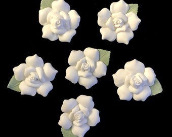 Porcelain flowers etsy six 1 38 porcelain bisque roses white porcelain rose for crafts mightylinksfo