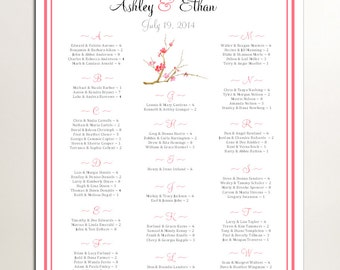 Cherry Blossom Seating Chart for Table Assignments for your Wedding Reception - Printable PDF File