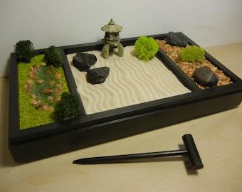 3 In 1 Medium Zen Garden   Includes Sand/Raking Landscape, Rock Garden And