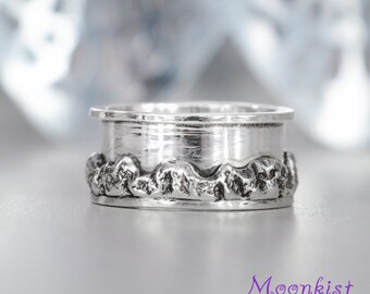 Mountain Wedding Band - Sterling Silver Nature Lovers Wedding Ring - Womens Unique Promise Ring - Textured Band Ring - Ready To Ship -Size 6