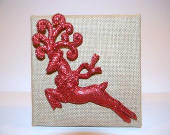 Red Glitter Reindeer Wall Art