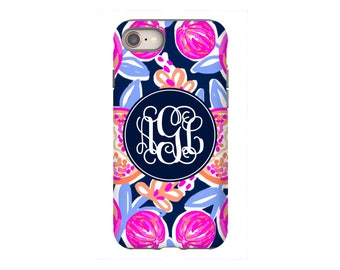 iPhone 8 Case - Personalized iPhone 8, iPhone 7, iPhone 6 Tin Tree Gifts Water Color Pomegranate  Desgin Monogram