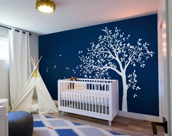 White tree wall decal Large tree with birds wall sticker White Birch tree with birds Vinyl Wall Art Tattoo AM018