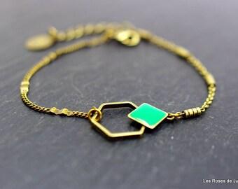 Bracelet graphique hexagone, bijoux émaillés, bronze