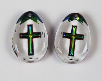 Vintage Pair of Metallic Green and Yellow Cross Clear Glass Teardrop Pendants