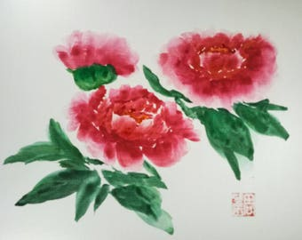 Free shipping --Watercolor Painting 3 Red Peony Flowers on Watercolor Paper