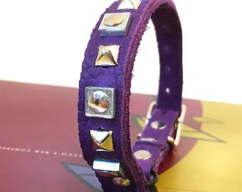 Royal Purple Leather Cat Collar with Pyramid Studs and Industrial Squares to fit a 8-10in Neck, EcoFriendly Leather, Seattle Handmade, OOAK