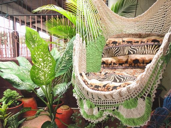 beige vert clair assis hamac suspendu chaise coton naturel et. Black Bedroom Furniture Sets. Home Design Ideas