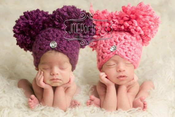 Items similar to baby girl hat newborn hat photography prop photo prop pom pom on etsy