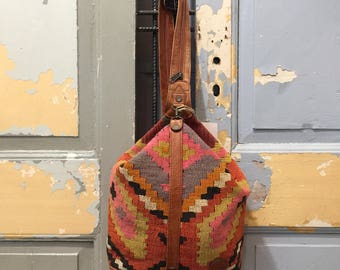 Vintage 80s Kilim Leather Boho Hand Made Woven Triangle Rucksack, Women's Handbag
