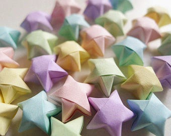 Origami Lucky Stars - Pastel Colors Wishing Stars,Embellishment,Gift Enclosure,Home Decor