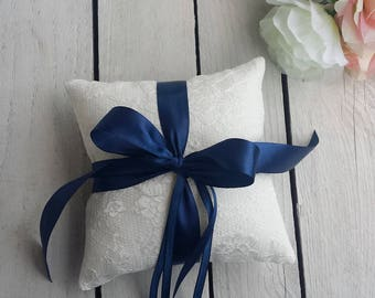 Navy ring pillow, blue ring pillow