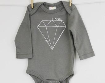 Diamond bodysuit I rock long sleeve bodysuit organic cotton baby clothes screen printed baby girl gift, 6-12, 12-18