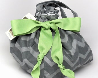 Shades of Gray Chevron - Choice of Size - Plum Creek Project Bag (G-004)