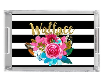Flowers & Feathers Personalized Serving Tray Monogrammed Acrylic Tray, Wedding Gift, Bridal Shower Gift, Monogrammed Lucite Serving Tray,