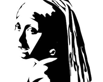 Girl with Pearl Earring Print, Johannes Vermeer, 1665, Wall Art Prints, Art Print, Minimalist Print, Digital Print, Black & White, Poster