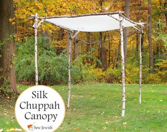 Wedding Chuppah Canopy - Jewish Wedding Huppah Canopy - Dyeable White Silk - Weddings - Jewish Wedding Accessory Made To Order
