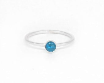 Blue Apatite Stacking Ring, Minimalist Stackable Rings, Sterling Silver Aqua Blue Ring