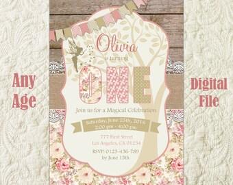 Fairy Birthday Invitation, Fairy Birthday Invite, Garden Fairy Invitation, Woodland Fairy Invitation, Enchanted Forest Birthday Invitation