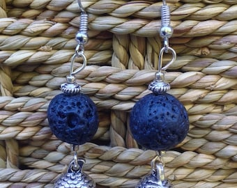Lava Rock Acorn earrings
