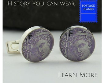 Medical Cuff Links, a Great Doctor Gift These Handmade Cuff links Feature Vintage French Stamp.  Mercury's Caduceus Cuff Links.