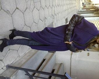 Asymmetrical Extravagant Dark Violet Cardigan