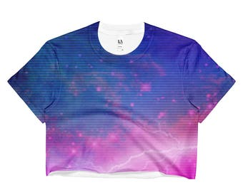 80s Clothing Retro Ombre Crop Top Rainbow Galaxy Vaporwave Aesthetic Pastel Goth Soft Grunge Fairy Kei Kawaii Clothing Rave Clothing