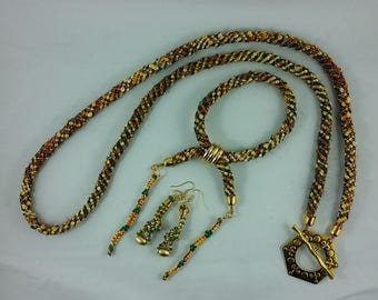 Necklace, Earrings, Bracelet: Woven Threads; gold, green, brown Kumihimo braided cord; for fans of Severus Snape and Hermione Granger