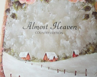 """K Vintage 1983 Decorative Folk Art painting """" Almost Heaven Country Edition"""" by Elaine Thompson  used book 32 pages"""