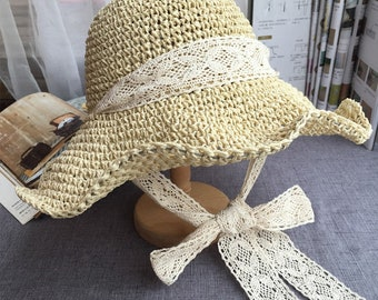 Straw hat girl summer small and fresh artisanal knitting hat lady can fold the Korean version of the beach hat.