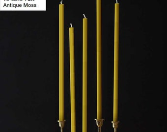 Beeswax Candles 4pcs set - PANTONE 16-0840 TCX - Antique Moss - Straight Taper Wax Candles Natural Color 100% Beeswax Organic