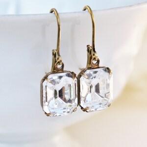 Vintage Crystal Clear Swarovski Rhinestone Earrings,Everyday Glamour,Emerald Cut Dangle,Bridal Earrings,Vintage Glass,Antique Brass