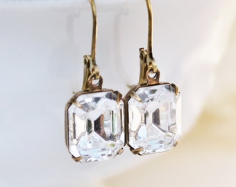 Vintage Crystal Clear Swarovski Rhinestone Earrings,Everyday Glamour,Emerald Cut Dangle,Bridal Earrings,Vintage Glass,Antique Brass
