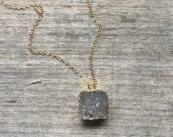 Natural Square Druzy Necklace - Natural Druzy -Drop Druzy Necklace --Natural Druzy Necklace -Gift for her - Druzy Necklace - Under 30 gift