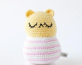 Pastel Yellow Striped Bear Amirugumi Crochet Doll, Baby Gift, Nursery Decor, Bear Plush, Baby Shower Gift, Handmade Bear Stuffed Animal