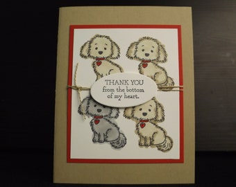 Handmade Puppy Thank You Greeting Card