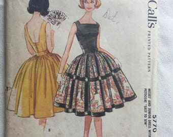 1960s Backless Sundress, Full Skirt, Fit and Flare, Sleeveless, Square Neck, McCall's 5770 Bust 31 1/2 Women's Vintage Sewing Pattern