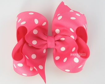 Hot Pink Hair Bow - Baby Toddler Girl - Bright Pink and White Polka Dot 4 Inch Boutique Bow on Alligator Clip Barrette