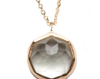 Praisolite Gemstone Pendant Necklace with 14k yellow gold, Green Amethyst