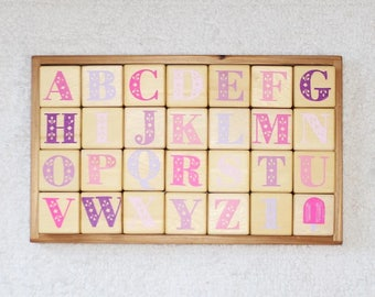 a b c d alphabet set in mixed pinks + purples + popsicle
