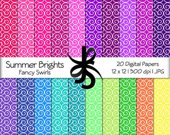Digital Scrapbook Papers-Summer Brights Fancy Swirls-Fancy Patterns-Bright Colors-Rainbow-Wallpapers-Backgrounds-Instant Download Clip Art