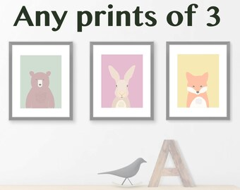 Nursery wall decor, set print of 3, children wall decoration, kids wall picture