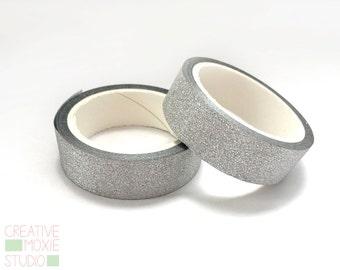 Silver Glitter Washi Tape - Glitter Tape - Happy Planner Tape - Planner Washi - Planner - Gift Wrap - Wedding Tape - Back to school - cute