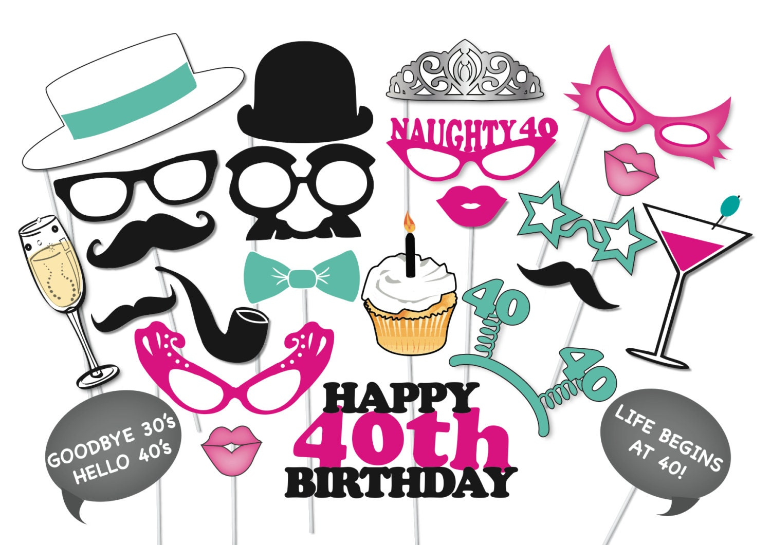 40th Birthday Photobooth Party Props Set 26 Piece PRINTABLE