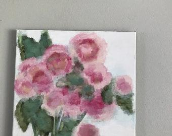 Shabby roses painting   - 12 x 12 acrylic on canvas