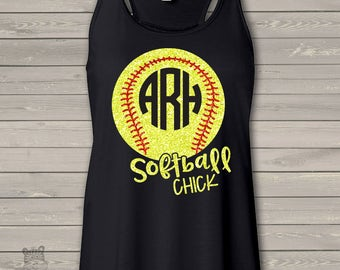 Softball chick monogram glitter dark flowy tank top - great gift for birthday or Mother's Day SBCMF